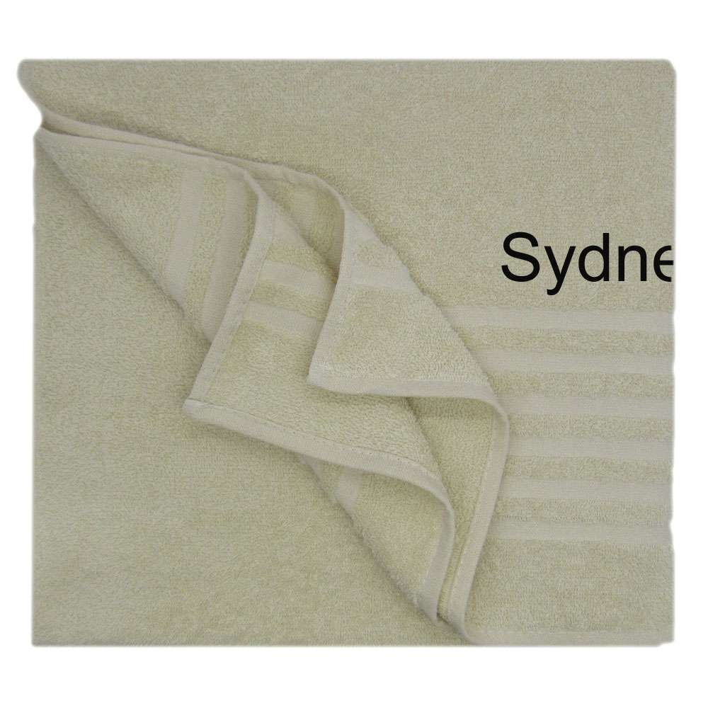 Shower Towel Embroidered with Name 70x135 Cream, Personolized Bath Towel