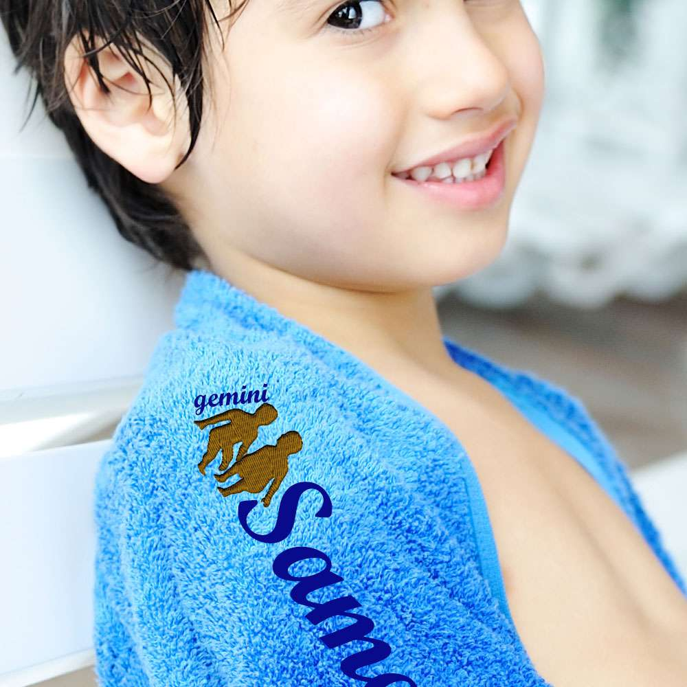 Zodiac Sign, Horoscope -Themed Bath / Swimming / Shower Towel Custom Name, Special-Design Towel With a Gemini Symbol, 70x140 cm