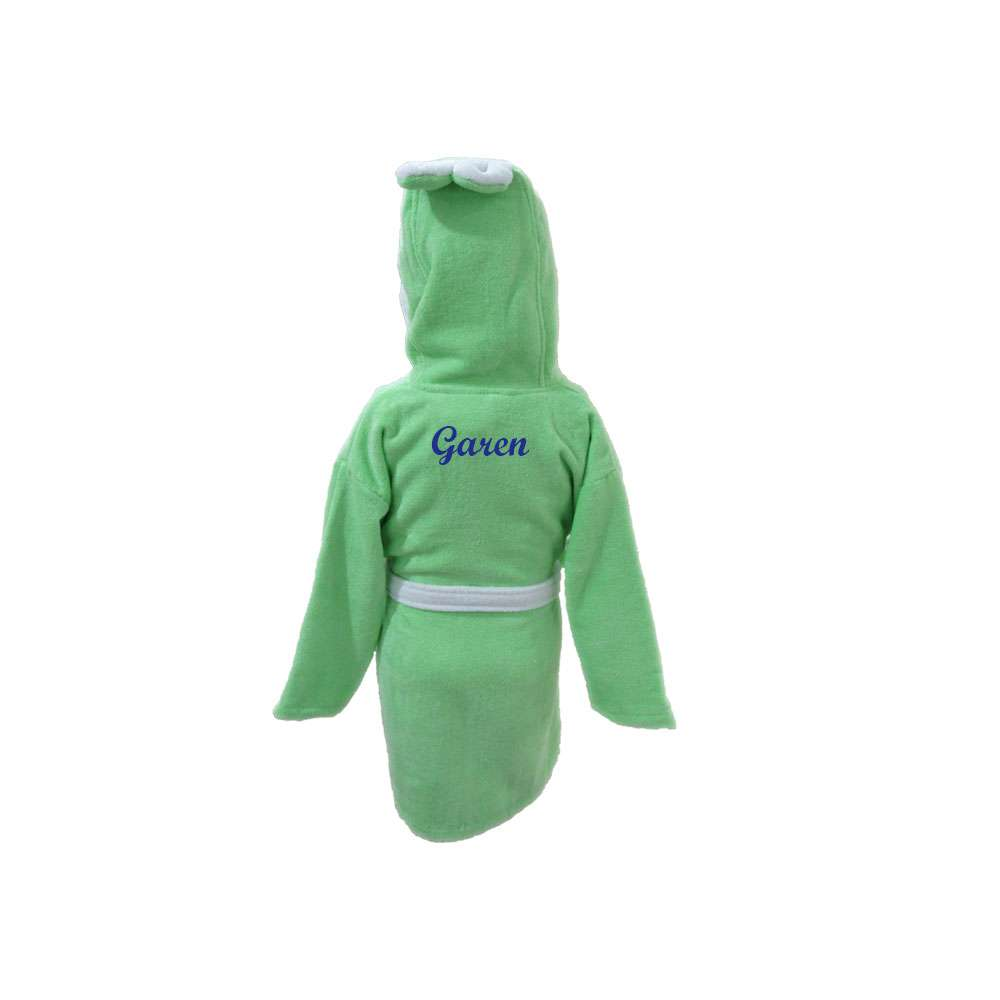 Name Embroidered Children's Bathrobe 3-4 Years Green, Customized Kid's Bathrobe