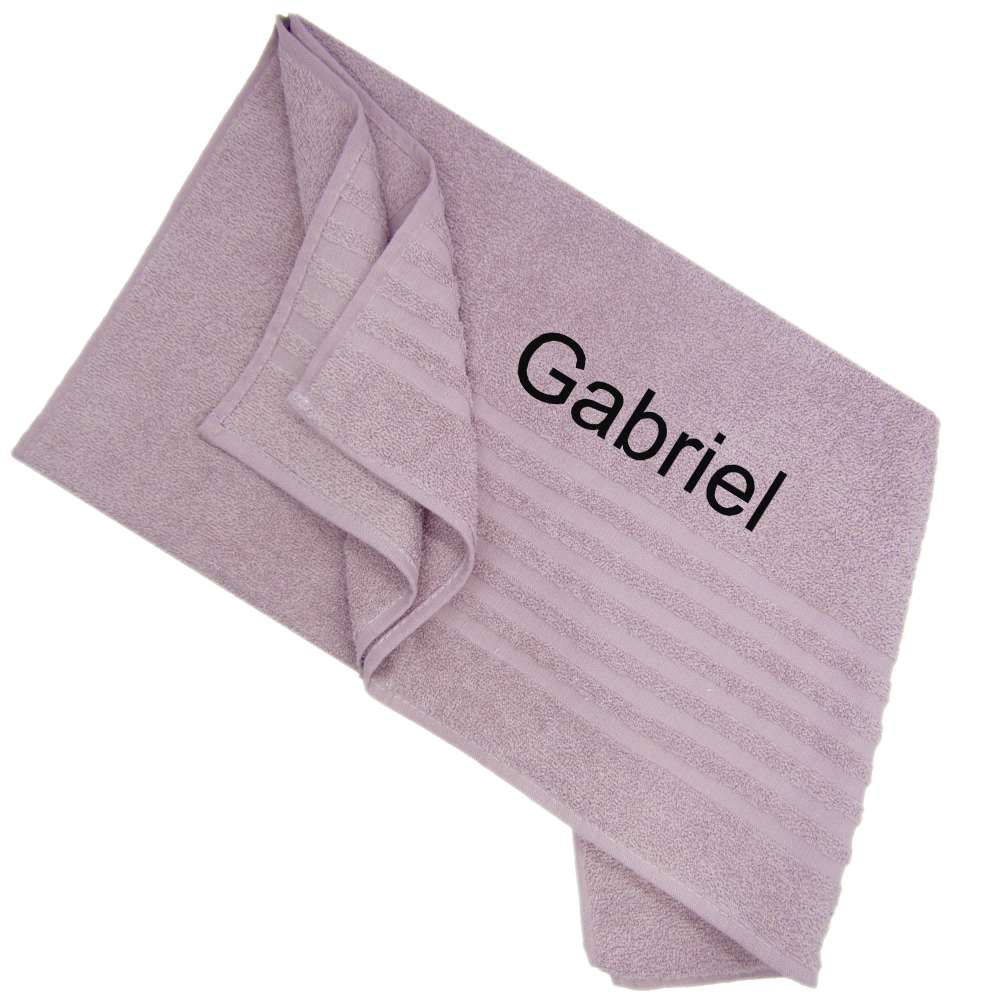 Shower Towel Embroidered with Name 70x135 Light Purple, Personolized Bath Towel
