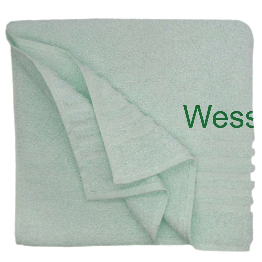 Shower Towel Embroidered with Name 70x135 Light Green, Personolized Bath Towel