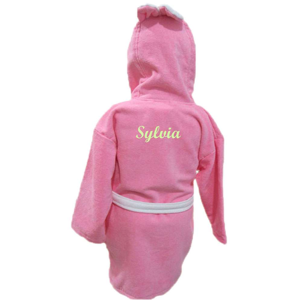 Name Embroidered Children's Bathrobe 9-10 Years Pink, Customized Kid's Bathrobe