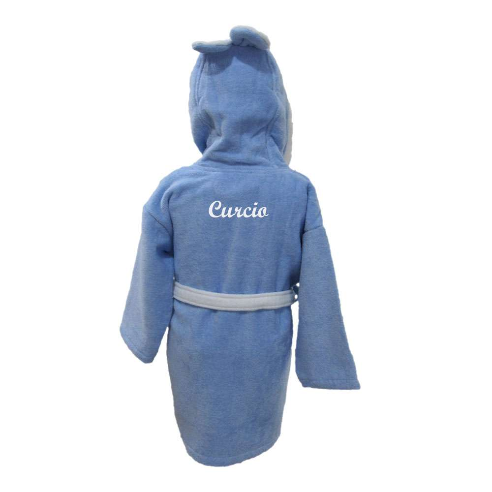 Name Embroidered Children's Bathrobe 7-8 Years Blue, Customized Kid's Bathrobe